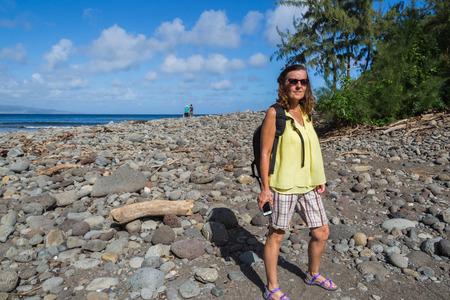 maui: Female traveling to Maui Hawaii Stock Photo