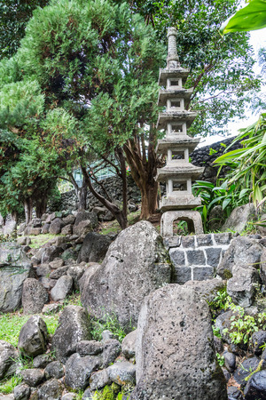 ancient times: Kepaniwai Heritage Gardens. include traditional Hawaiian dwellings of ancient times as well as the traditional homes Stock Photo