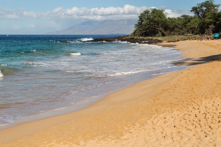 palm lined: Wailea Beach, Maui, tawny-colored sand is lined by palm trees and a paved walkway connecting the shoreline to the areas hotels, shops and restaurants. Stock Photo