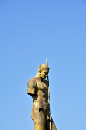 naked statue: Naked man statue in Pompeii