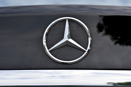 MARYLAND, USA - 2016: The front end of a Mercedes-Benz displaying the Mercedes symbol Editorial