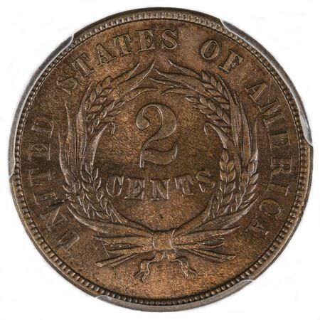 1865 2 cent copper coin reverse / back