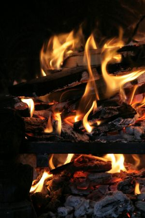 chimney corner: Fogata durante el invierno