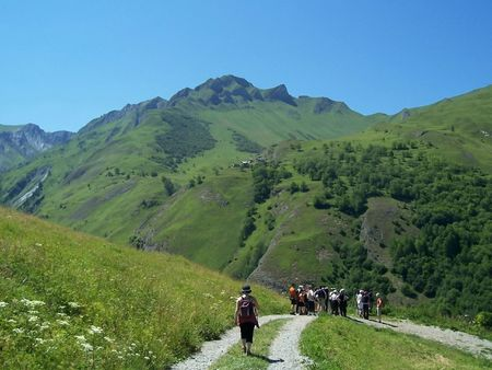 Group of walkers in the Alps