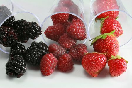 Cocktail of red fruits with strawberries, raspberries and blackberries