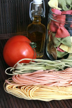 starchy food: Preparation of pasta before a meal Stock Photo