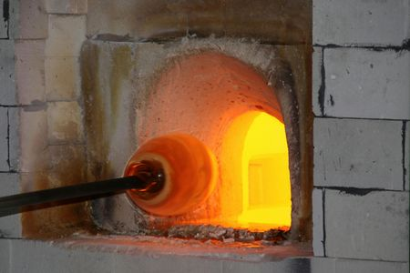 Glass-blower in action