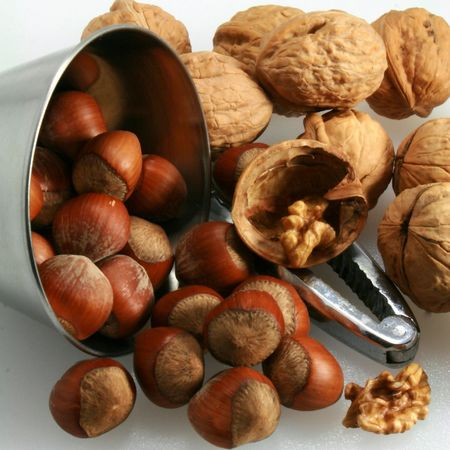 Walnut and hazelnuts in autumn