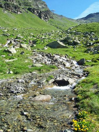 Walk in the French Alps in Savoy during summer photo