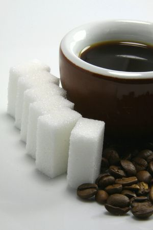 echange: Black coffee and sugar Stock Photo