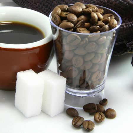 echange: Tasting of black coffee Stock Photo