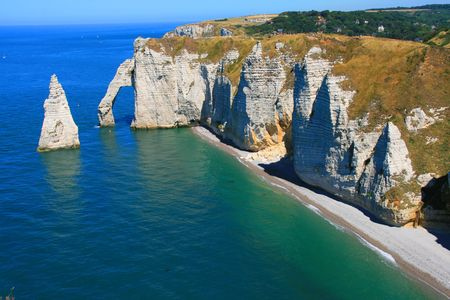 Landscape of etretat in Normandy Stock Photo