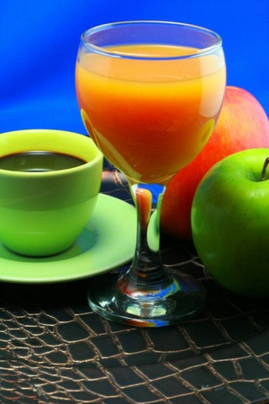 echange: breakfast with coffee and fruit juice Stock Photo