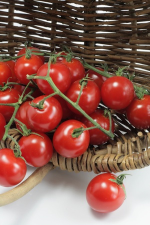 Organic tomatoes in a basket photo