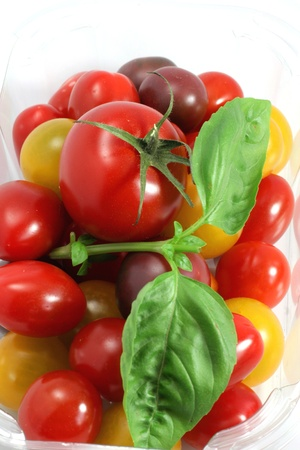 slightly: Organic and multicolored tomatoes Stock Photo