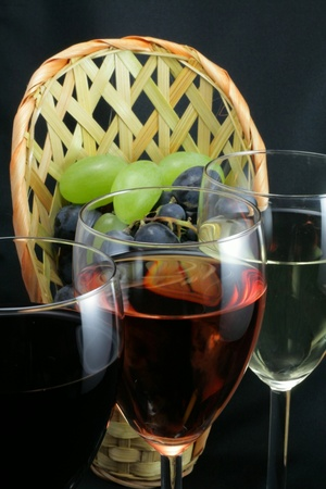 Tasting of wine and bunches of grapes Stock Photo - 8398260