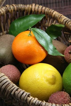 Basket of fresh fruit photo