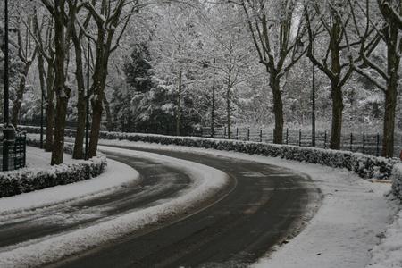 Road in winter in Paris region Stock Photo