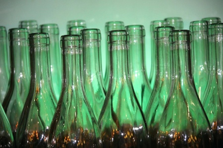 Wine bottles on a green background photo