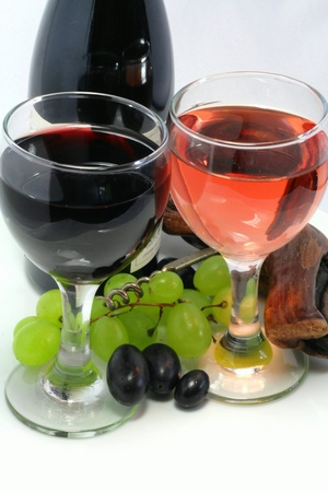 tastevin: Tasting of wine with a bunch of grapes in detail Stock Photo