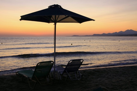 Beach in the early hours in Greece photo