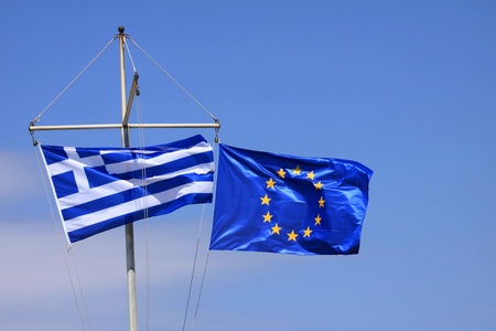eec: Greek flag and flag of the EEC