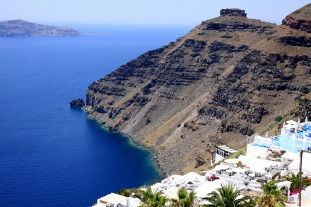 Landscape of the Santorin Island - Cyclades Stock Photo