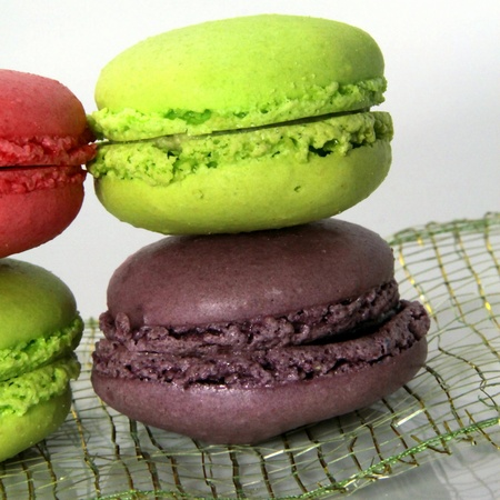 Preparation in cooking of multicolored macaroons Stock Photo