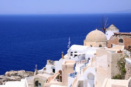 Overview on the sea since a village to Santorin-Santorini Stock Photo