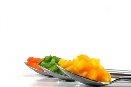 Pepper filled spoons Reklamní fotografie