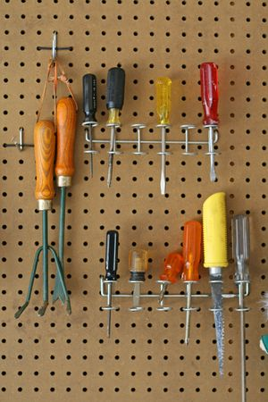 Tools hanging in the garage Stock Photo - 2782718
