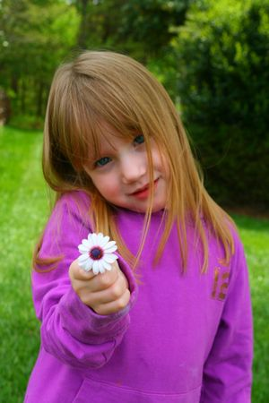 Girl and her flower photo