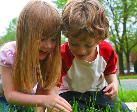 gemelos ni�o y ni�a: Dos ni�os descubren la naturaleza  Foto de archivo