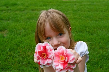 A girl and her azaleas photo