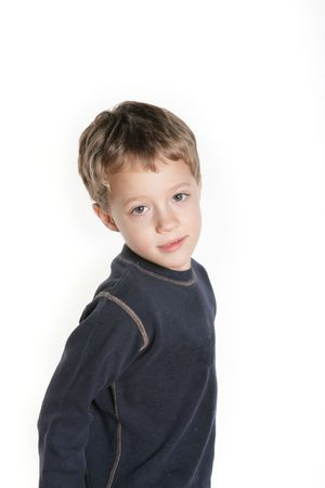 four year old: Portrait of a four year old boy on white