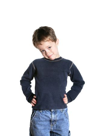 four year old: cute four year old boy on a white background