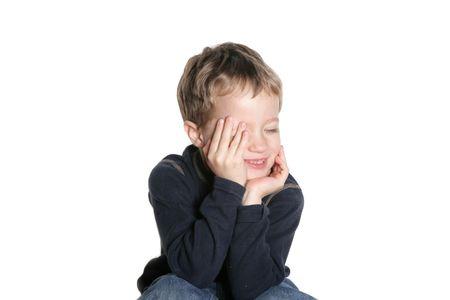 Laughing boy on white