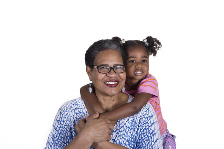 aging woman: Grandmother and granddaughter
