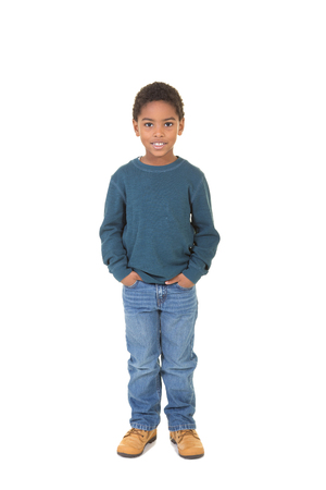 tween boy: Portrait of a school aged boy isolated on white
