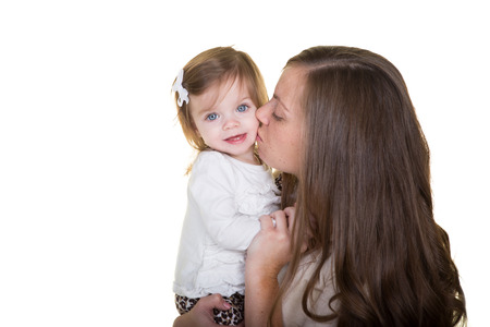 A mother and her daughter together isolated on white