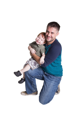 family isolated: Portrait of a father and his toddler isolated on white Stock Photo