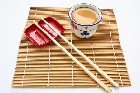 Chopsticks, Plate & Tea Stock Photo