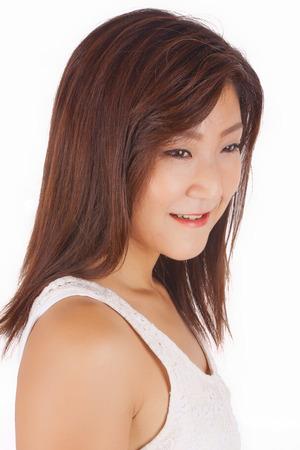 Belle isolement fille portrait asiatique Banque d'images