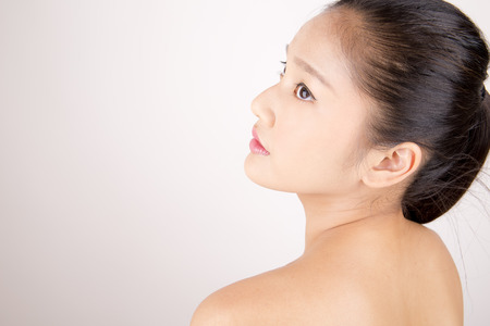 Asian young beautiful woman with flawless complexion Stock Photo