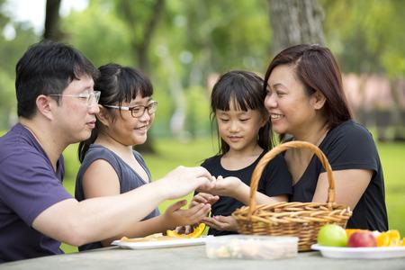 Jeune famille ayant pique-nique dans le parc de l'Asie Banque d'images