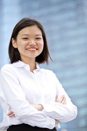 Asian young female executive smiling portrait photo