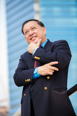 Senior businessman in suit smiling portrait