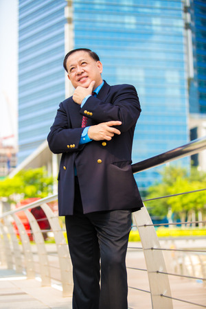 Senior businessman in suit smiling portrait