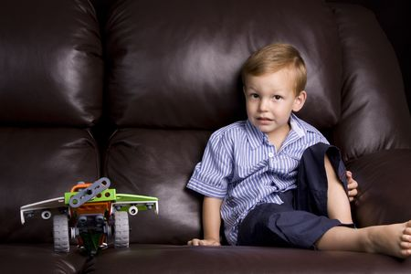 little boy with his favourite aeroplane toy Stock Photo - 6191592