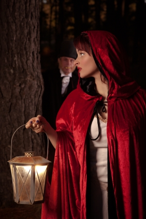 girl in red dress: Red Riding Hood Stock Photo